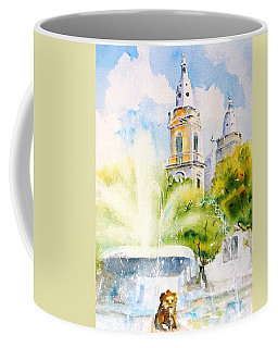 Lions Fountain Plaza Las Delicias  Ponce Cathedral Puerto Rico Coffee Mug