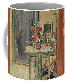 Coffee Mug featuring the painting Lisbeth Reading by Carl Larsson
