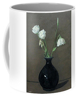 Lisianthus In Black Vase Coffee Mug