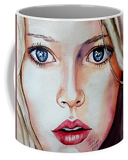 Coffee Mug featuring the painting Listen by Michal Madison