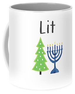 Lit Christmas And Hanukkah- Art By Linda Woods Coffee Mug