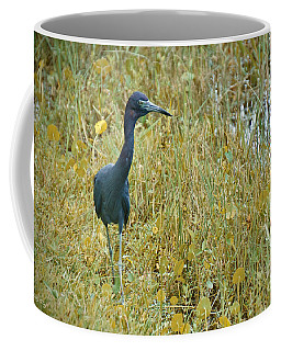 Coffee Mug featuring the painting Little Blue On The Move by Judy Kay