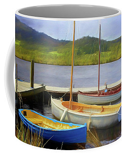 Coffee Mug featuring the photograph Little Boats On The Huon by Wallaroo Images