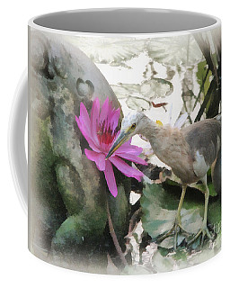 Coffee Mug featuring the painting Little Egret by Sergey Lukashin