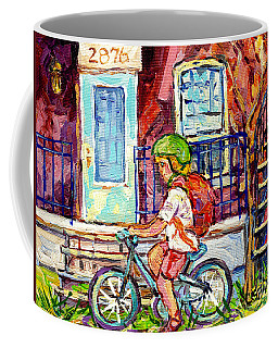 Little Girl Cyclist Verdun Montreal Doorway Balcony Scene Neighborhood Canadian Painting C Spandau   Coffee Mug