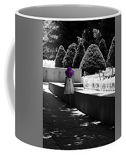 Little Girl In Magenta Hat Black And White Selective Color Coffee Mug