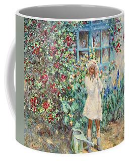 Little Girl With Roses  Coffee Mug by Pierre Van Dijk