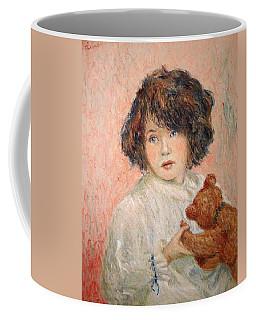 Little Girl With Bear Coffee Mug by Pierre Van Dijk