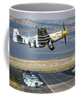 Coffee Mug featuring the photograph P51 Mustang Little Horse Gear Coming Up Friday At Reno Air Races 5x7 Aspect Signature Edition by John King