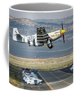 Coffee Mug featuring the photograph P51 Mustang Little Horse Gear Coming Up Friday At Reno Air Races 5x7 Aspect by John King