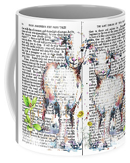 Coffee Mug featuring the mixed media Little Lambs Fairy Tale by Heidi Kriel