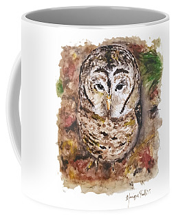 Coffee Mug featuring the painting Little Owl by Monique Faella