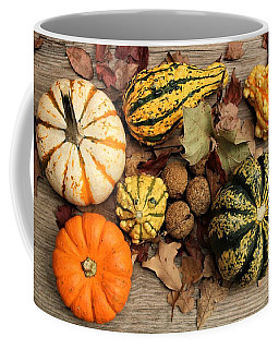 Coffee Mug featuring the photograph Little Pumpkins Fall Decor by Sheila Brown