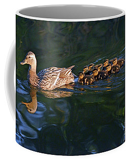 Coffee Mug featuring the photograph Little Quacker Formation by Debby Pueschel