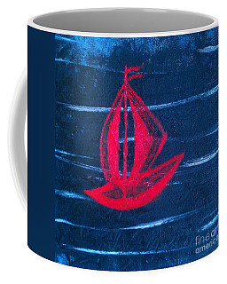 Coffee Mug featuring the painting Little Red Boat  by Jacqueline McReynolds