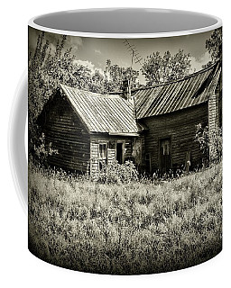 Little Red Farmhouse In Black And White Coffee Mug by Paul Ward
