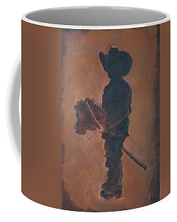 Coffee Mug featuring the painting Little Rider by Leslie Allen