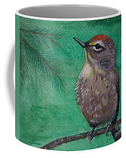 Coffee Mug featuring the painting Little Warbler by Leslie Allen