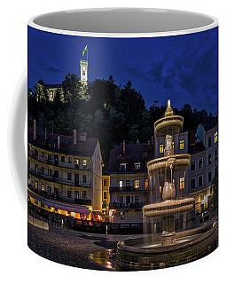 Coffee Mug featuring the photograph Ljubljana Night Scene #3 - Slovenia by Stuart Litoff