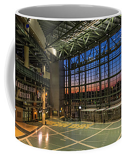 Coffee Mug featuring the photograph Lambeau Field Atrium Sunset by Joel Witmeyer