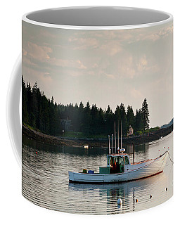 Lobster Boat Anchored In Port Clyde, Maine #8537 Coffee Mug