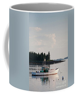 Lobster Boat Anchored In Port Clyde, Maine #8537-v Coffee Mug