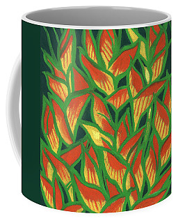 Lobster Claw / Heliconia Rostrata, Tropic Flowers, Green, Yellow And Orange Coffee Mug