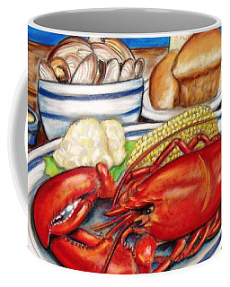 Coffee Mug featuring the pastel Lobster Dinner by Patricia L Davidson