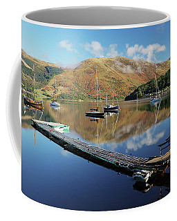 Coffee Mug featuring the photograph Loch Leven  Jetty And Boats by Grant Glendinning