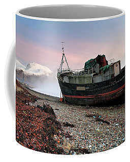 Coffee Mug featuring the photograph Loch Linnhe Misty Boat Sunset by Grant Glendinning