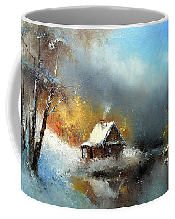 Lodge In The Winter Forest Coffee Mug
