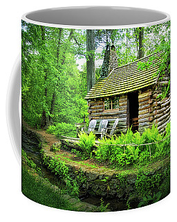 Log Cabin At Morris Arboretum Coffee Mug