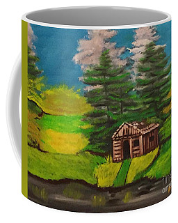 Coffee Mug featuring the painting Log Cabin by Brindha Naveen