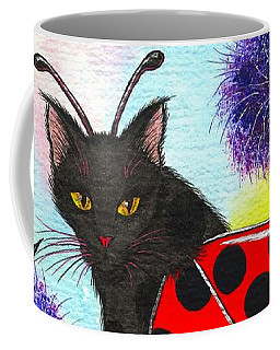 Coffee Mug featuring the painting Logan Ladybug Fairy Cat by Carrie Hawks