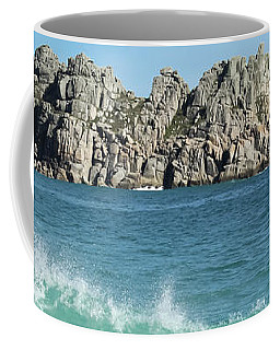 Coffee Mug featuring the photograph Logan Rock Porthcurno Cornwall by Terri Waters