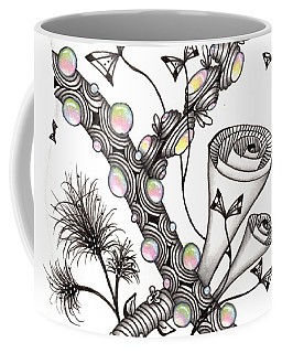 Coffee Mug featuring the drawing Lollywimple Garden by Jan Steinle