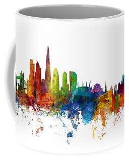 London And Warsaw Skylines Mashup Coffee Mug