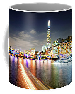 London At Night With Urban Architecture, Amazing Skyscraper And Boat At Thames River, United Kingdom Coffee Mug