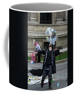 Coffee Mug featuring the photograph London Bubble And Smoke Blower by Steven Richman