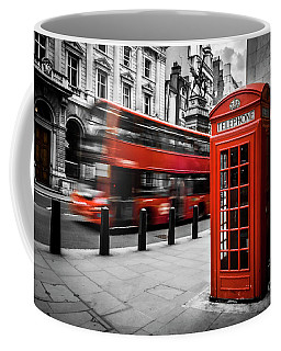 London Bus And Telephone Box In Red Coffee Mug