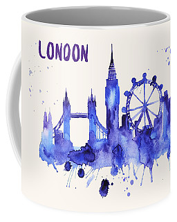 London Skyline Watercolor Poster - Cityscape Painting Artwork Coffee Mug