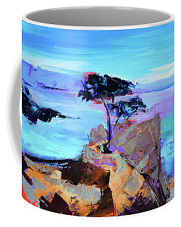 Coffee Mug featuring the painting Lone Cypress by Elise Palmigiani