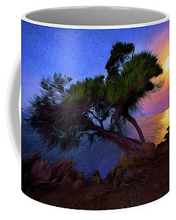 Lone Tree On Pacific Coast Highway At Moonset Coffee Mug