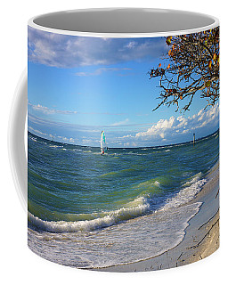 Lone Windsurfer At Wiggins Pass Coffee Mug
