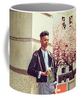 Coffee Mug featuring the photograph Lonely Boy With White Rose 15042643 by Alexander Image