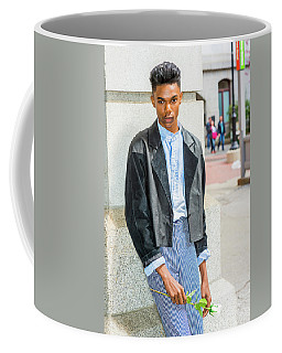 Coffee Mug featuring the photograph Lonely Boy With White Rose 15042644 by Alexander Image