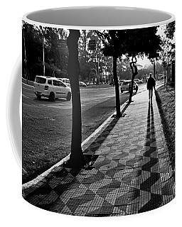 Lonely Man Walking At Dusk In Sao Paulo Coffee Mug