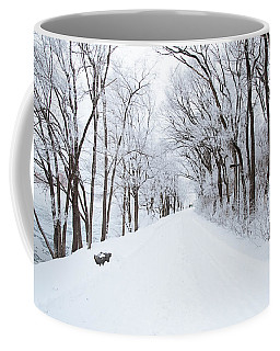 Lonely Snowy Road Coffee Mug by  Newwwman