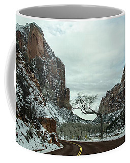 Coffee Mug featuring the photograph Lonesome Snowy Winter In Zion by Gaelyn Olmsted