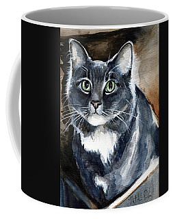 Coffee Mug featuring the painting Long Haired Blue Cat Portrait by Dora Hathazi Mendes